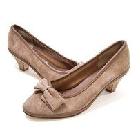 Vintage Suede Shoes Bow Taupe Mushroom Leather Mid Heel Pump size 7