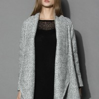 Simple Grey Flared Woolen Coat