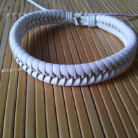 white Leather Cotton Ropes Woven WomenJewelry Bangle Cuff Bracelet 1301A