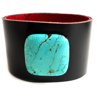 Leather Cuff, Black Patent Leather with Turquoise Bead