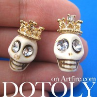 White Skeleton Skull Crown Royalty Earrings with Rhinestone Eyes