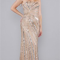 Sherri Hill Nude Silver Sequin Long Dress