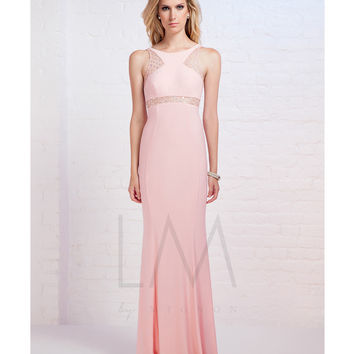 LM by Mignon Pink Beaded Illusion High Neck Gown Prom 2015