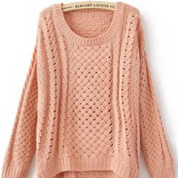 Pink Round Neck Long Sleeve Hollow Sweater - Sheinside.com