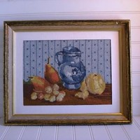 Cross stitched picture still life vintage