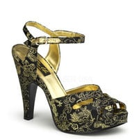 Black And Gold Fabric Platform Sandals and wide range of Unique High Heel Sandals at ElectriqueBoutique.com