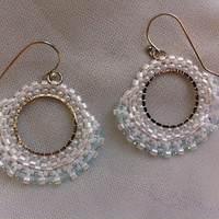 Earrings, Round beaded earrings, Dangles, White earrings,Wedding  brides jewelry, Handmade designer jewelry, Swarovsky