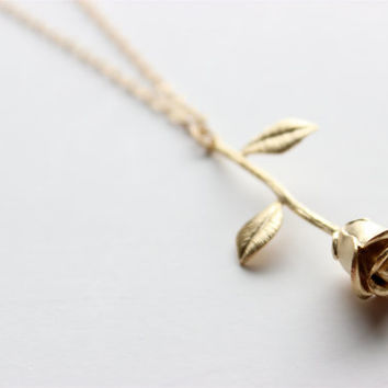 Gold Necklace - Rose Necklace - Long Necklace - Matte Gold Rose Pendant on Matte Gold Chain
