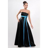 Breathtakingly Beautiful Black and Aqua Strapless Evening Dress Formal Gown