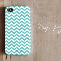 iphone 4 case , iphone 4s case , case for Iphone 4 Blackberry mobile Case handmade: Soft blue Chevron