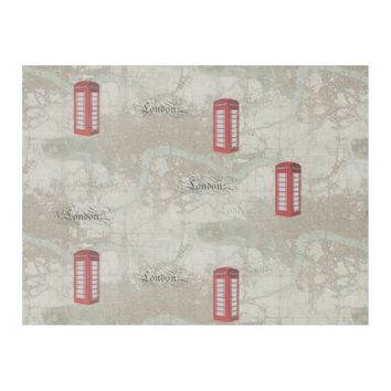 London Map Red Phone Booth Fleece Blanket