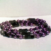 Lilac Pearls and Magnetic Hematite Memory Wire Bracelet