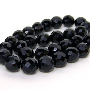 black onyx beads, 14mm faceted gemstone, half strand (634S)