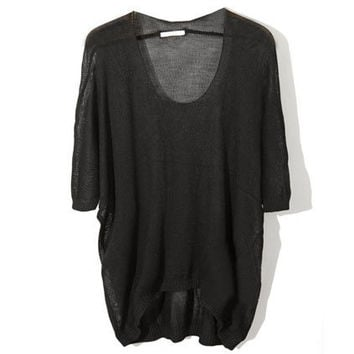 Loose Medium Sleeve Black Jumpers [NCSWJ0019] - $24.99 :