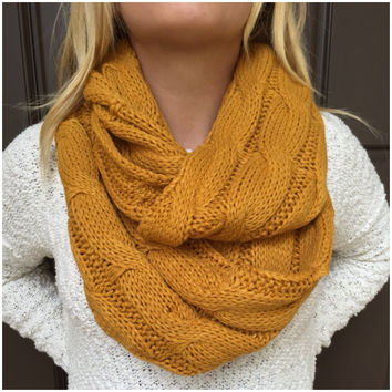 Cable Knit Thick Infinity Scarf  MUSTARD YELLOW  Cable Knit