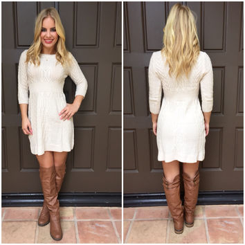Cable Knit Dress  IVORY