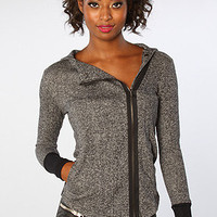 The Tilda French Terry Moto Zip Hoody in Dark Heather Gray