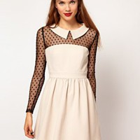 Darling Spot Mesh Contrast Skater Dress at asos.com