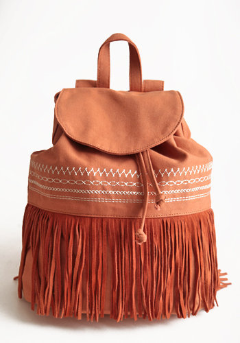 Before Sunset Fringe Backpack in Orange - $56.00: ThreadSence, Women&#x27;s Indie &amp; Bohemian Clothing, Dresses, &amp; Accessories