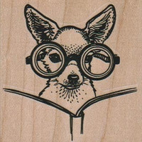 Rubber stamp Dog  Chihuahua With Glasses Mounted  scrapbooking supplies 10621