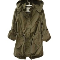 Womens Hoodie Drawstring Army Green Military Trench Parka Jacket Coat Jumper (S ( US  XS))