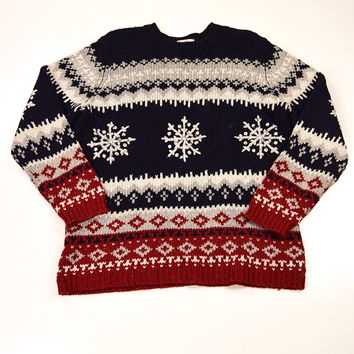Red White and Blue Snowflake Sweater for Men by Basic Editions Size M