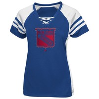 Majestic New York Rangers Magic Moment Shimmer Colorblock Raglan Tee - Women's