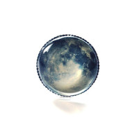 Full Moon Ring Wearable Art 02 Twilight Adjustable Photo Silver Art Nature  Fantasy
