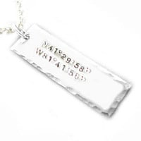 Longitude Latitude Necklace Hand Stamped Personalized Hammered Edge Rectangle Pendant engraved gift Wedding Birthday