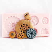 Sugarcraft steampunk mold - gear fondant mold - food grade silicone steam punk mold set - candy gears mold
