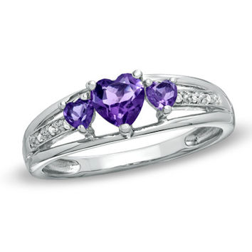 Heart-Shaped Amethyst and Diamond Accent Three Stone Ring in 10K White Gold