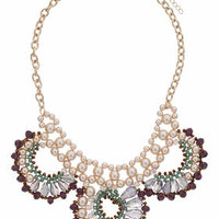 Faceted Bead And Pearl Collar - Multi