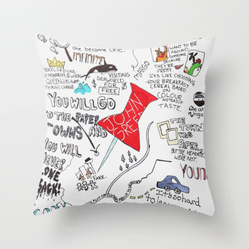 Paper towns John Green Throw Pillow by Natasha Ramon
