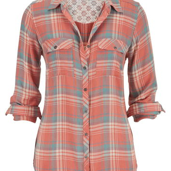 relaxed plaid button down shirt