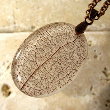 Skeleton leaf of Salal Necklace, woodland jewelry, leaf jewellery, plant, forest, nature, rustic, antique copper, resin pendant, Vancouver