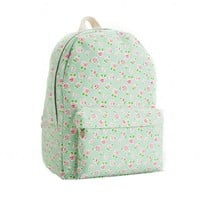 Vintage Beautiful Rose Floral Canvas Backpack Book Bag Tote Handbag Travel Campus Cute Schoolbag Mint Green