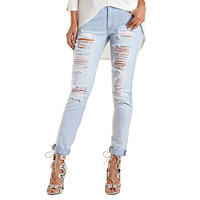 "Refuge ""Boyfriend"" Destroyed Light Wash Jeans - Lt Destroy Denim"