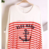 Women Autumn New Style Long Sleeve Scoop Loose Batwing Stripe Red Cotton Blouse One Size@WH0043r $9.57 only in eFexcity.com.