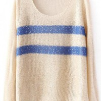 Round Neck Beige Sweater with Sequins$38.00