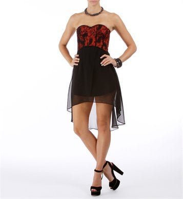 Black/Red Lace Hi Lo Dress