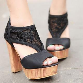 YESSTYLE: Mancienne- Platform Lace Sandals (Black - 39) - Free International Shipping on orders over $150