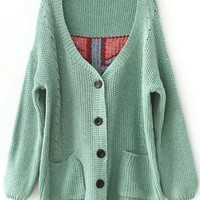 V Neck Green Sweater with Plaid Back$40.00