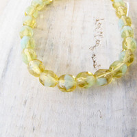 Green yellow Faceted 6mm glass beads Bead Jewelry Supply Glass Crystal Beads two tone glass beads #116