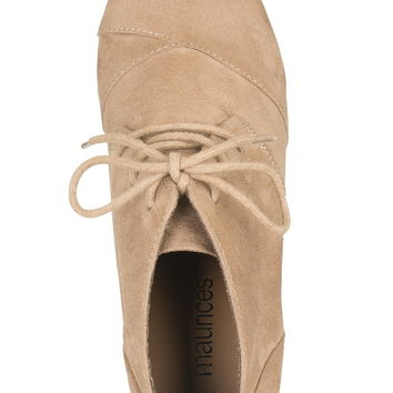 taupe Eva lace up wedge
