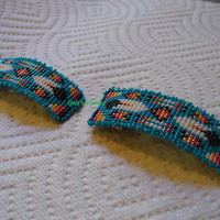 square stitch beaded young childs size two Feather barrette set