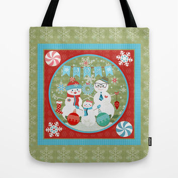 Winter Snowmen Family Holiday Christmas Art Tote Bag by Cool Cat Creative