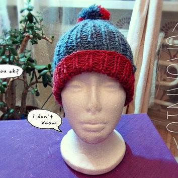 Organic Wool Hipster Hat with Pompon -  Made to Order -  Woolen Knitted Hat - Boho Winter Clothing
