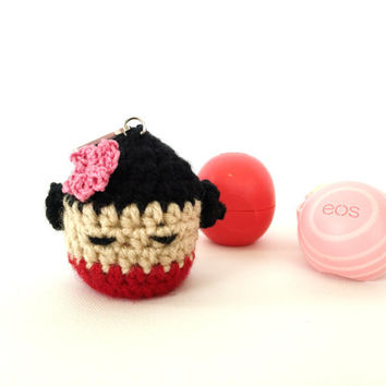 Kokeshi Girl EOS Holder/EOS Lip Balm Cozy/EOS/Kawaii - with Clip
