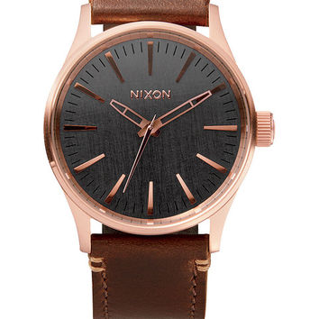 The Sentry 38 Leather  Watches  Nixon Watches and Premium