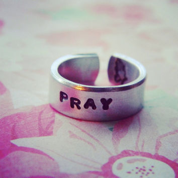 Pray  stamped inside aluminum cuff ring #peace